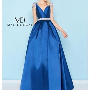 Mac Duggal Blue Embellished Ball Gown + Gold Shoes